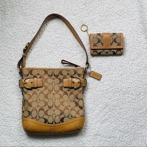 Coach Signature Purse With Matching Mini Wallet